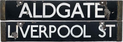 London Underground O/P/Q-Stock enamel CAB DESTINATION PLATE 'Aldgate / Liverpool St' from the