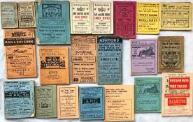 Quantity (21) of 1880s-1970s local ROAD & RAIL TIMETABLE BOOKLETS from various towns, the earliest