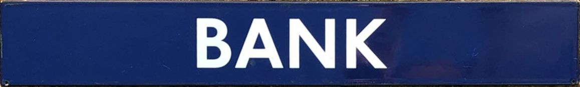 London Underground enamel PLATFORM SIGN from Bank Station on the Central & Northern lines. The
