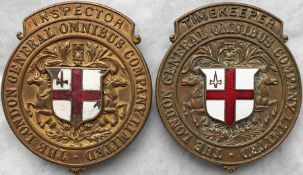 Pair of c1890s London General Omnibus Company Limited CAP BADGES from the horse-bus era and designed