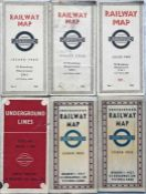 Selection (6) of 1930s/40s London Underground POCKET MAPS comprising diagrammatic card maps: No 2,