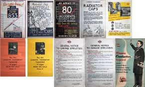 Quantity (10) of 1930s-50s London Transport safety & recruitment etc POSTERS. 7 double-crown