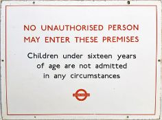 London Transport enamel BUS GARAGE SIGN 'No unauthorised person may enter.....Children under 16....'