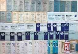 Large quantity (69) of 1950s-70s London Transport BUS TIMETABLE LEAFLETS comprising 44 x Night
