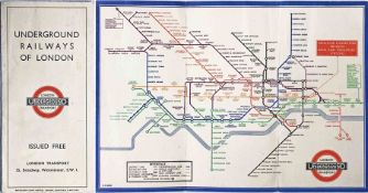 1933 London Underground H C Beck diagrammatic, card POCKET MAP from the first-year series titled '