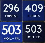Selection (4) of London Transport bus stop enamel E-PLATES, all with the blue-background for
