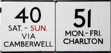Pair of London Transport bus stop enamel E-PLATES, the first for route 40 Sat-Sun, via Camberwell (