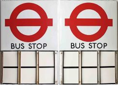 London Transport enamel BUS STOP FLAG (Compulsory) An early 1980s 'roundel'-style, E6-size, double-