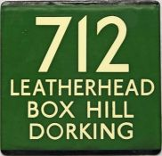 London Transport coach stop enamel E-PLATE for Green Line route 712 destinated Leatherhead, Box