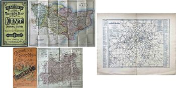 Selection (3) of Victorian road & rail MAPS comprising c1870s Bacon's New Tourist's Map of Kent '