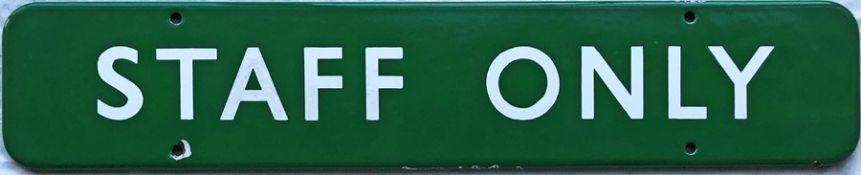 "British Railways (Southern Region) enamel DOORPLATE 'Staff Only'. A flanged sign measuring 18"" x 3."