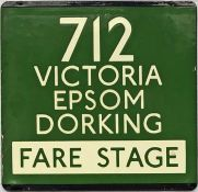 London Transport coach stop enamel E-PLATE for Green Line route 712 destinated Victoria, Epsom,