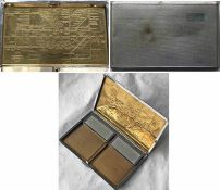 1930s CIGARETTE CASE with engraved London Underground map on the inside including pre-WW2 bullseye