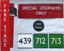 Selection (6 items) of London Transport enamel BUS STOP SIGNAGE comprising a 1960s small Fare