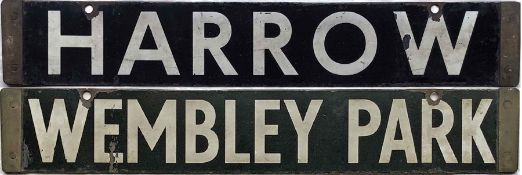London Underground CO/CP Stock enamel DESTINATION PLATE for Harrow/Wembley Park on the