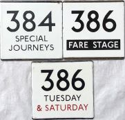 Selection (3) of London Transport bus stop enamel E-PLATES comprising 384 Special Journeys, 386 Fare