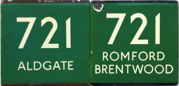Pair of London Transport coach stop enamel E-PLATES for Green Line route 721, one in each direction,