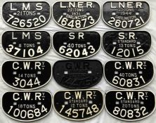 Quantity (12) of railway cast-iron WAGON PLATES with examples from all the 'Big Four' companies