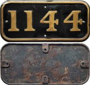 Cast-brass locomotive CABSIDE PLATE 1144 from 1909 0-4-0ST built by Hawthorn Leslie for the