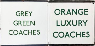Pair of London Transport coach stop enamel E-PLATES for Grey Green Coaches and Orange Luxury