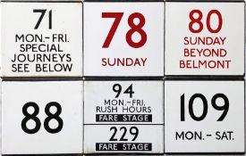 An interesting selection (6) of London Transport bus stop enamel E-PLATES comprising 71 Mon-Fri,