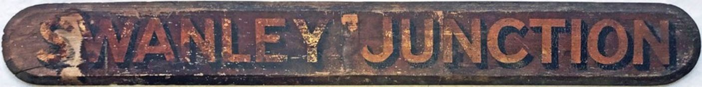 Very early wooden CARRIAGE DESTINATION BOARD lettered 'Swanley Junction'. We believe this to be