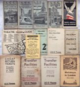 Quantity (14) of 1913-1930s LCC Tramways POCKET MAPS & LEAFLETS comprising pocket maps dated Dec