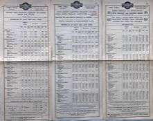 Trio of 1923/4 Metropolitan Electric Tramways (Underground Group) tram stop PANEL TIMETABLES