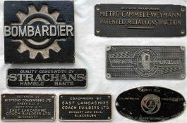 Selection (7) of 1960s onwards BUS & TRAM MANUFACTURERS' PLATES comprising East Lancs, Neepsend,