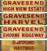 Quartet of bus wooden DESTINATION BOARDS, possibly ex-Maidstone & District and possibly pre-WW2.
