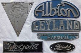 Selection (6) of bus alloy RADIATOR BADGES comprising AEC, Albion, Bristol, Leyland, Marshall and