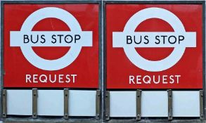1940s/50s London Transport enamel BUS STOP FLAG (Request). An E3 type with runners for 3 e-plates on