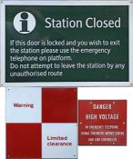 Selection (3) of main-line railway & London Underground ENAMEL SIGNS comprising a Southern