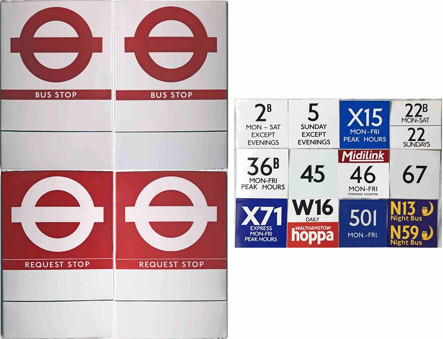 Pair of London Transport enamel BUS STOP FLAGS (One Request, one Compulsory). Mid-1990s type, E6-