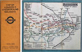 1927 London Underground linen-card POCKET MAP from the Stingemore-designed series of 1925-32. This