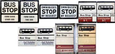 Selection (5) of 1950s-80s BUS STOP FLAGS, all double-sided and comprising 'Omnibuses stop by