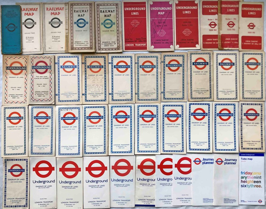 Quantity (42) of 1930s-2000s London Underground POCKET MAPS. Includes a 'Stingemore' (heavily