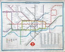 1979 (March) London Underground quad-royal POSTER MAP designed by Paul E Garbutt. Shows the original