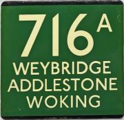 London Transport coach stop enamel E-PLATE for Green Line route 716A destinated Weybridge,
