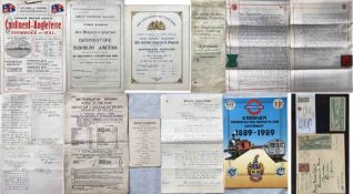 Bundle of 1870s onwards RAILWAY EPHEMERA comprising 1899 GWR/LSWR Royal Train timetables, 1870s/