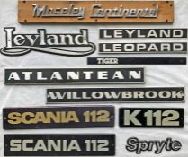 Selection (11) of 1970s onwards COACH MANUFACTURERS' PLATES including Moseley Continental,