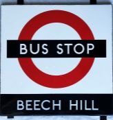 1950s/60s London Transport enamel BUS STOP SIGN 'Beech Hill' from a 'Keston' wooden bus shelter at