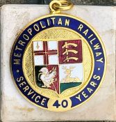 c1920s/30s Metropolitan Railway LONG SERVICE MEDAL issued to H Perkins for 40 years' service. Enamel