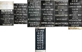 Pair of London Transport TROLLEYBUS DESTINATION BLINDS from Fulwell (FW) depôt, the first for the