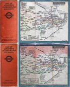 Pair of 1925 London Underground linen-card POCKET MAPS from the Stingemore-designed series of 1925-