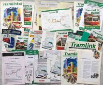 Folder of 1990s CROYDON TRAMLINK MATERIAL - brochures, pamphlets, leaflets, newsletters etc, all