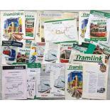 Folder of 1990s CROYDON TRAMLINK MATERIAL - brochures, pamphlets, leaflets, newsletters etc, all