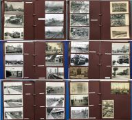 3 large albums of loose-mounted PHOTOGRAPHS/POSTCARDS compiled by the late Alan A Jackson, historian