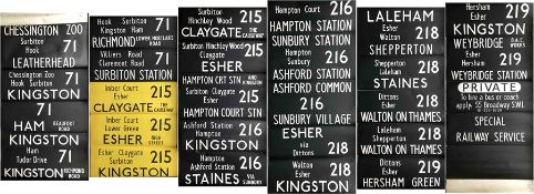 London Transport BL-type bus DESTINATION BLIND (also fits RF) from Kingston (K) garage dated 17.7.78