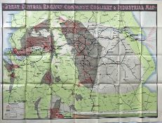 c1910-15 Great Central Railway COLLIERY & INDUSTRIAL MAP. Shows agricultural land, manufacturing